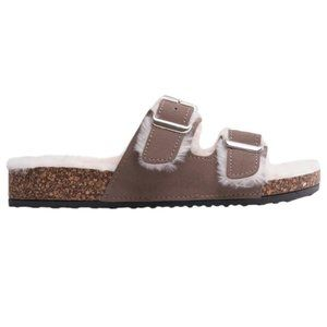 NWB Steve Madden Faux Fur Newly Slides in Brown 7
